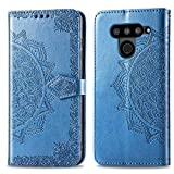 Bear Village Hülle für LG V50 ThinQ, PU Lederhülle Handyhülle für LG V50 ThinQ, Brieftasche Kratzfestes Magnet Handytasche mit Kartenfach, Blau