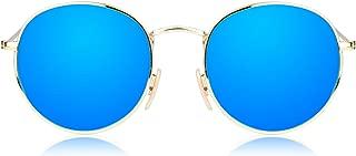 Small Round Polarized Sunglasses Mirrored Lens Unisex Glasses SJ1014 3447