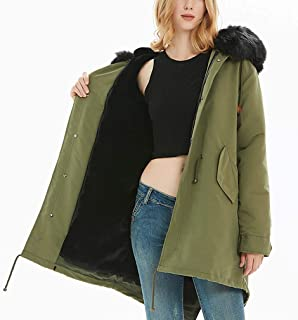 ADM6 Women's Hooded Fleece Jacket, Warm Winter Quilted Lined Down Coat with Fur Hood, Medium Style Parka with 100% Faux Fur Puffer Jacket