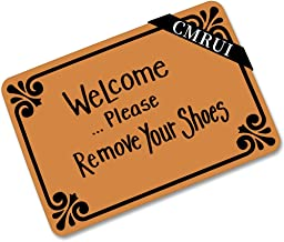 Welcome Please Remove Your Shoes Doormat Entrance Mat Floor Mat Rug Indoor/Outdoor/Front Door/Bathroom Mats Rubber Non Sli...