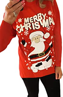 Funny Christmas Shirts for Women Santa Reindeer Print Tops Red Xmas Pullover