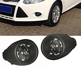 GSRECY 2012-2014 Left and Right for Ford Focus Bumper Halogen Fog Lights Driving Lamps w/Bezel+Black Grille Cover