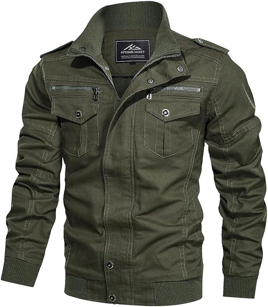 HJWWIN Men's Lightweight Lowest price challenge Cotton Military and Autu Jackets Alternative dealer Spring