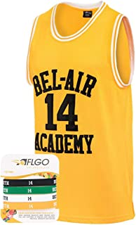 AFLGO The Fresh Prince of Bel Air 14 Academy Jersey Will Smith Include Free Wristbands (Yellow, Small)