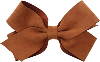 Large Suede Scuba Hair Bow For Girls Cognac