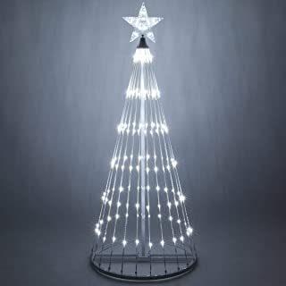 Wintergreen Lighting 14-Function LED Light Show Cone Christmas Tree, Outdoor Christmas Decorations (6', Cool White)