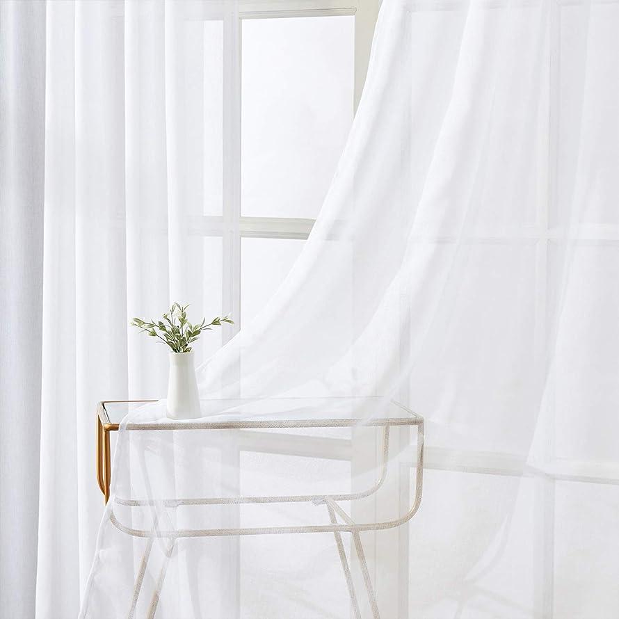 小石調停者付録Topfinel レースカーテン UVカット 無地 幅100x丈110cm 2枚組 ホワイト (全7サイズ5色)