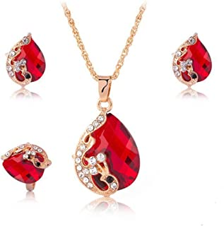 Women's Gold Plated Teardrop Crystal Necklace, Rings and Earrings Jewelry Set