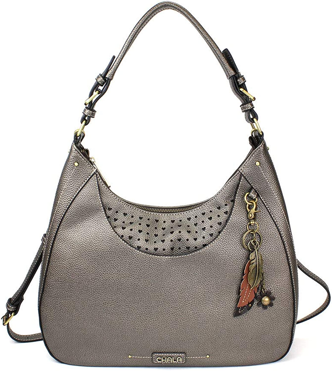 Chala Sweet Tote Hobo Crossbody Purse Metal Feather   Pewter