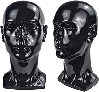 Bright Black Mannequin Head Cosmetology Male Training Head Model Hat Wig Glasses Headset Jewelry Display Stand