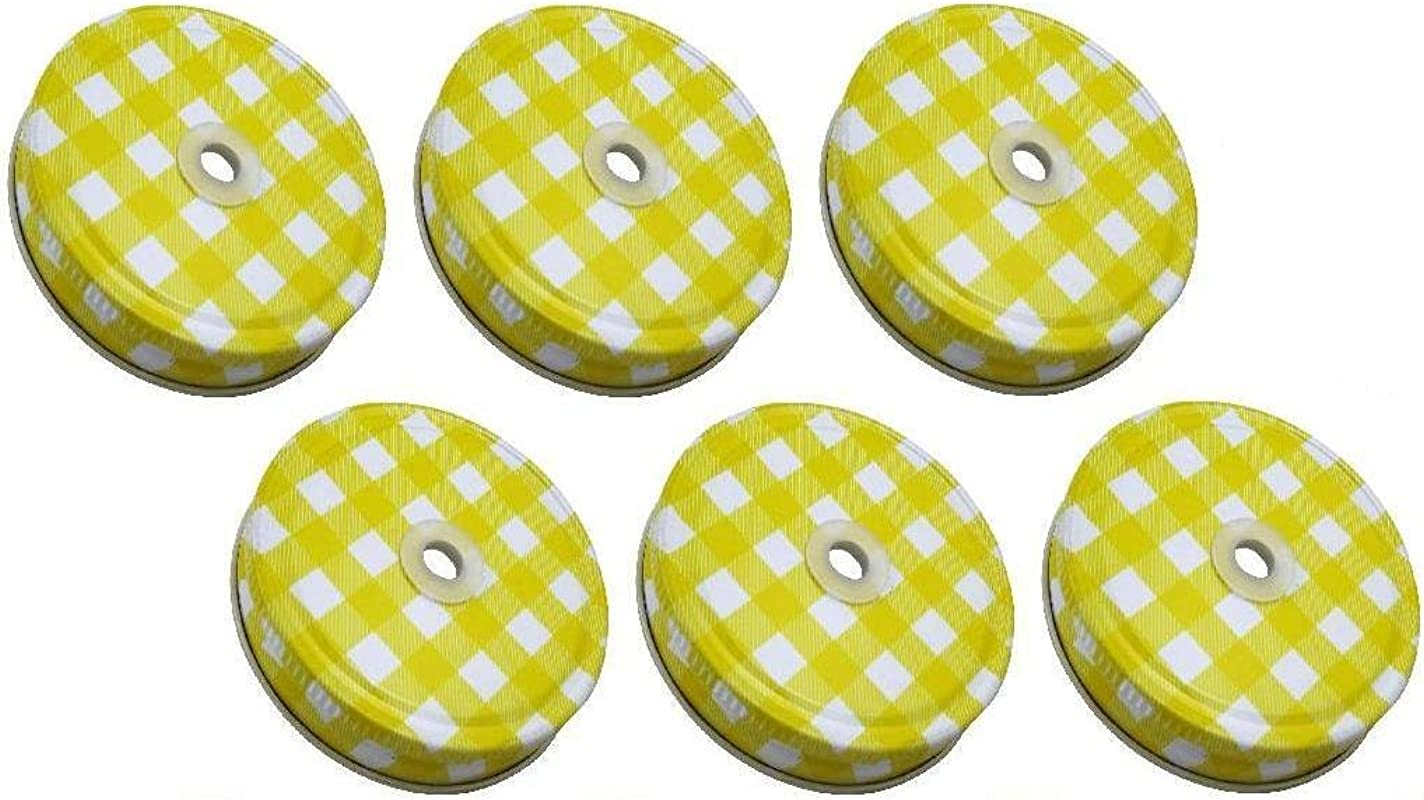 Sunshine Mason Co Lids With Straw Hole 6 Pieces Yellow Gingham