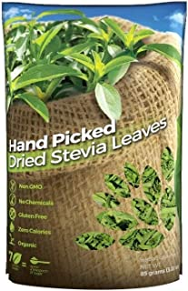 WHOLE DRIED STEVIA LEAVES, Green Stevia Leaf (3 oz.) (85.23 grams.) 100% Natural from South America.