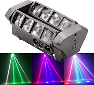 HSL LED Moving Head Stage Light Beam Spider DJ Stage Light RGBW DMX512 Sound Activated Party Bar Club Wedding Christmas Disco Stage Lighting DJ Equipment