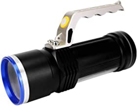 Aluminum Alloy Strong Light Long-Range Searchlight, USB Rechargeable T6 + White Light Red Light COB Side Light Retractable...