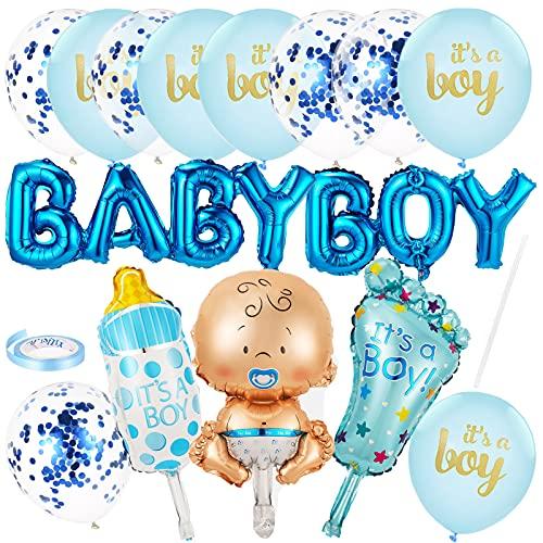 Baby Shower Dekoration Jungen | Babyparty Deko Jungen mit Helium Konfetti Luftballons und Baby Boy Folienballon | Its a Boy blaue Luftballons | Taufe Deko Junge, Gender Reveal Party Deko