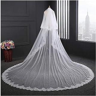 Bridal Veils Wedding Veil White/Ivory Lace Edge Wedding Accessories Marriage Bride Veils With Comb 3.5M Long 0531 yynha (C...