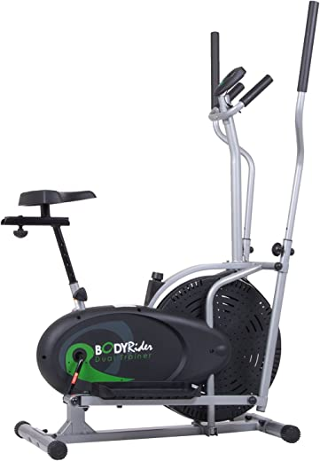 Body Rider Elliptical Trainer and Exercise Bike with Seat and Easy Computer / Dual Trainer 2 in 1 Cardio Home...