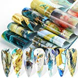 Nail Art Foils Stickers, 10pcs Marble Stone Nail Foil Transfer Stickers Holographic Starry Sky Foil Adhesive Decals Colorful Design Foil Transfers for Acrylic Nail Art Supplies Manicure Decorations