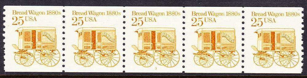 Bread Wagon PNC Strip of SALENEW very popular! 5 MNH #3 Sc. In a popularity #2136: Plate 25c U.S.