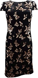 Women's Floral Sequined Cap Sleeve Cocktail Dress