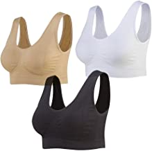 Lemef 3-Pack Naadloze Sportbeha Draadloze Yoga BH met Verwijderbare Pads voor Vrouwen