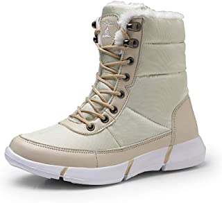Men Boots 2019 Winter Waterproof Snow Men Boots Shoes with Fur Plush Warm Male Casual Women Mid-Calf Boot Sneakers Unisex,White,42