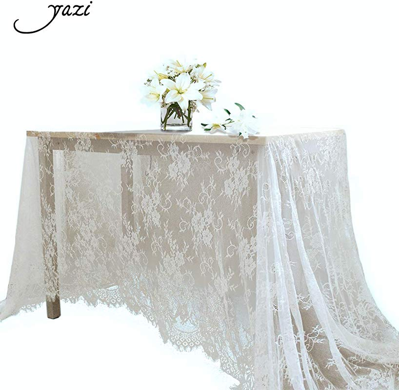 Yazi 60x120 Inch White Lace Table Runner Spring Summer Classical Wedding Decor Table Runner Lace Overlay Baby Bridal Party Decor