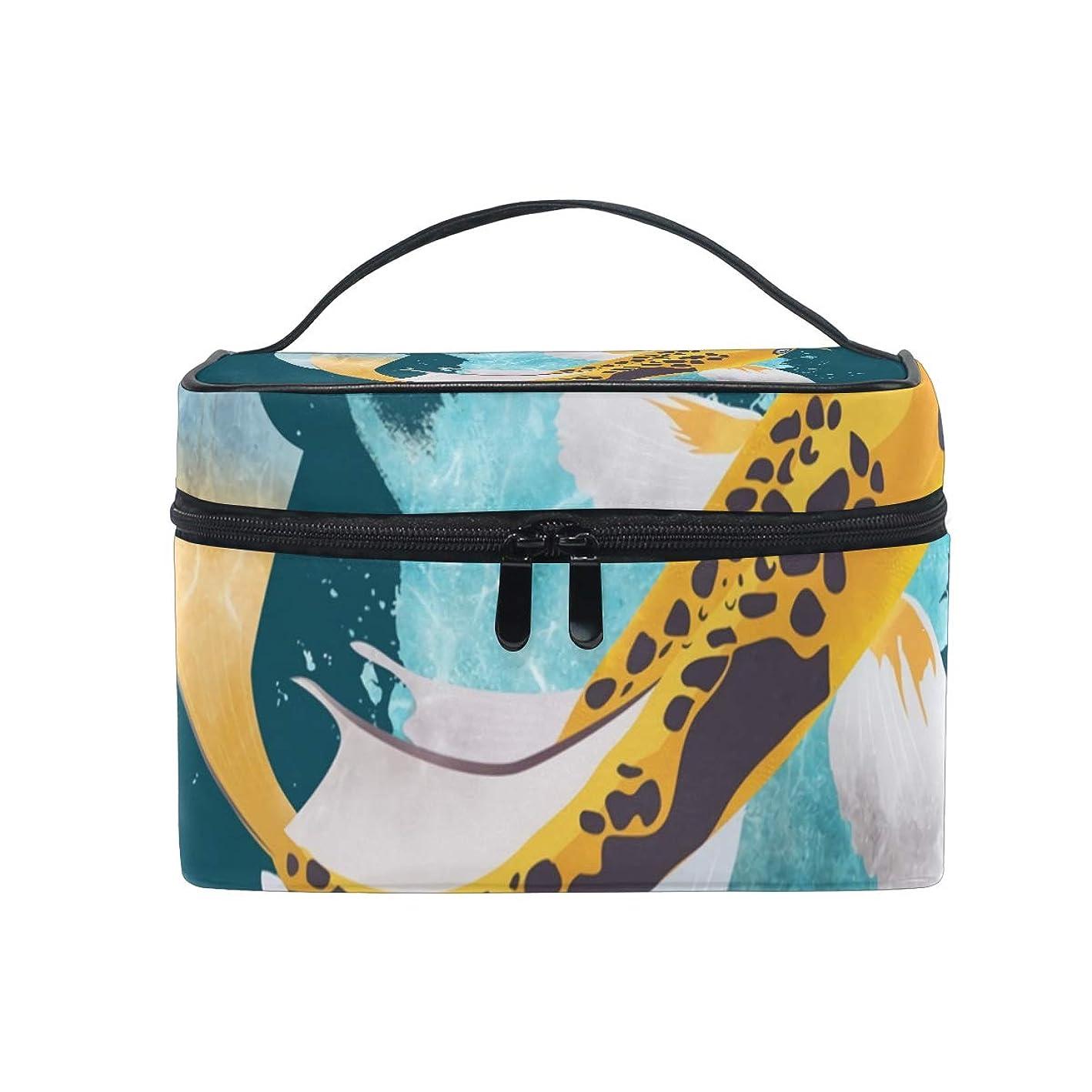 耐えられないアリーナリーメイクボックス 鯉 魚 スプラッシュ柄 化粧ポーチ 化粧品 化粧道具 小物入れ メイクブラシバッグ 大容量 旅行用 収納ケース