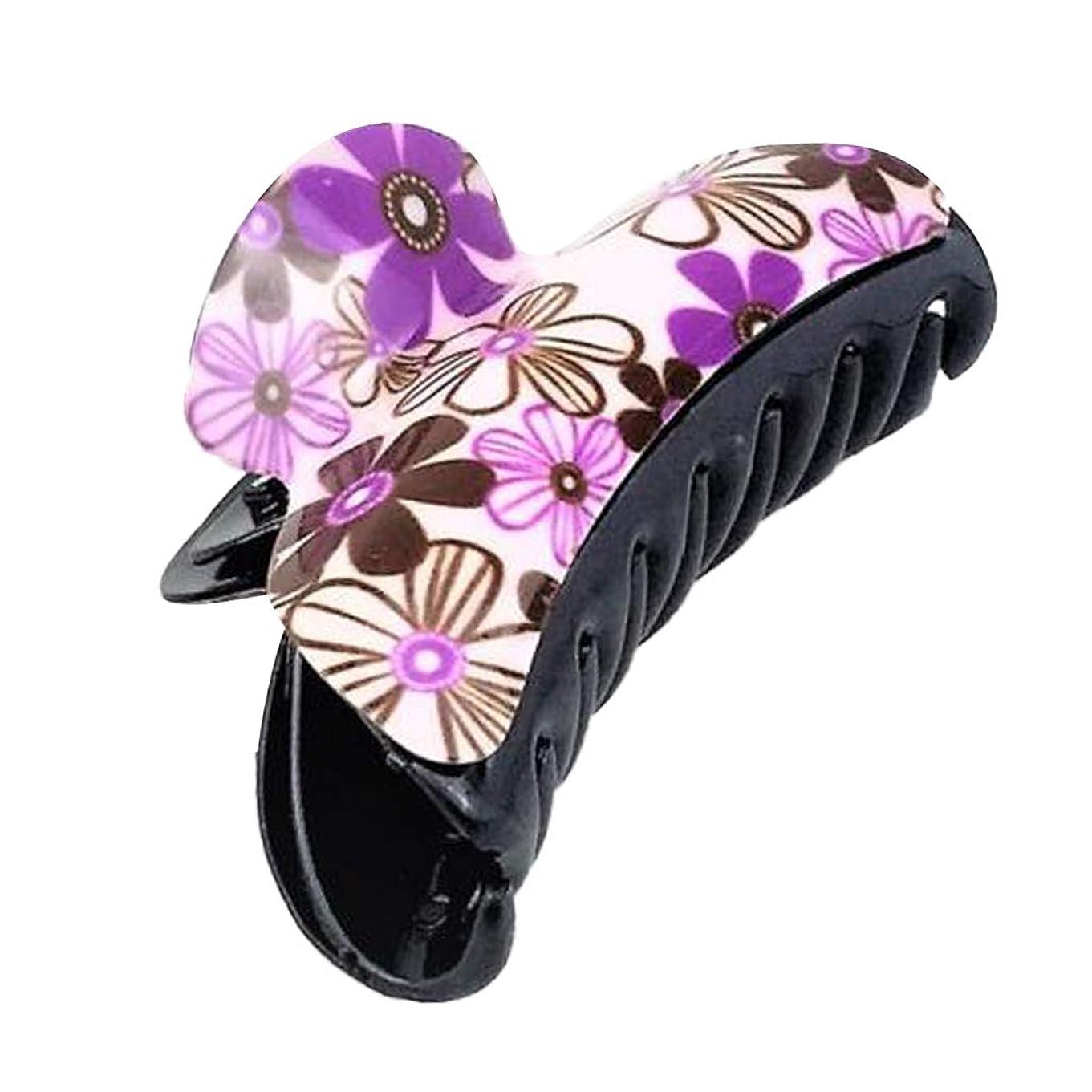 追加する特異な用心D DOLITY ヘアバレッタ クリップ 花柄 レディース ヘアアレンジ 髪飾り ヘアアクセサリー 紫