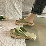 Zapatillas De Casa para Mujer Primavera,Zapatillas De Fondo Grueso, Viento De Hadas 2021 Verano Nuevo Desgaste Zapatos De Playa De Mar Red Flat Red-Modelos De Mujeres_i 38 (240mm / 9.45')_Verde