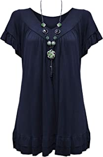 dad7a2c84413a7 Urban Diva Vanilla Inc Womens Ladies Plus Size Frill Necklace Gypsy Ladies  Tunic Short Sleeve Long