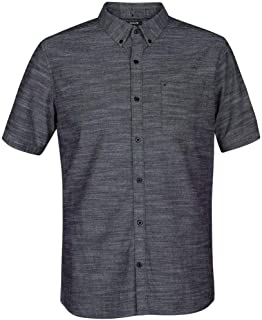 Hurley Men's One and Only Textured Short Sleeve Button Up, black, XL
