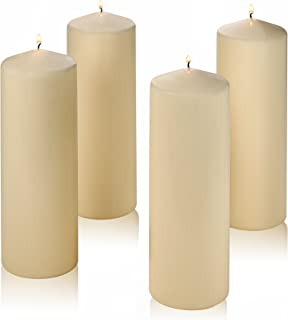 Light In The Dark Set of 4 Pillar Candles Color Vanilla – Unscented - 9 inch Tall 3 inch Thick - 72 Hour Burn Time – Used for Lanterns, Hurricanes and Wedding Centerpieces