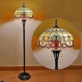 Ø40CM Vintage Tiffany Salon Lampadaire Sur Pied Avec interrupteur Rétro Baroque Lampe De Sol Art Déco Manuel Vitrail Abat ...