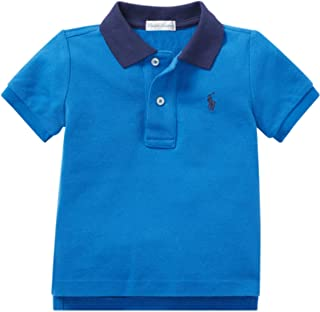 Polo Ralph Lauren Baby Boys Cotton Interlock Polo Shirt White Blue 6m 9m 12m