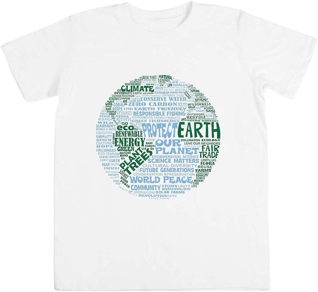 Unisex Kids Boys Girlss T-Shirt White Proteger Tierra Azul Verde Palabras por Tierra Unisexo Ni/ño Ni/ña Camiseta Blanco Todos Los Tama/ños