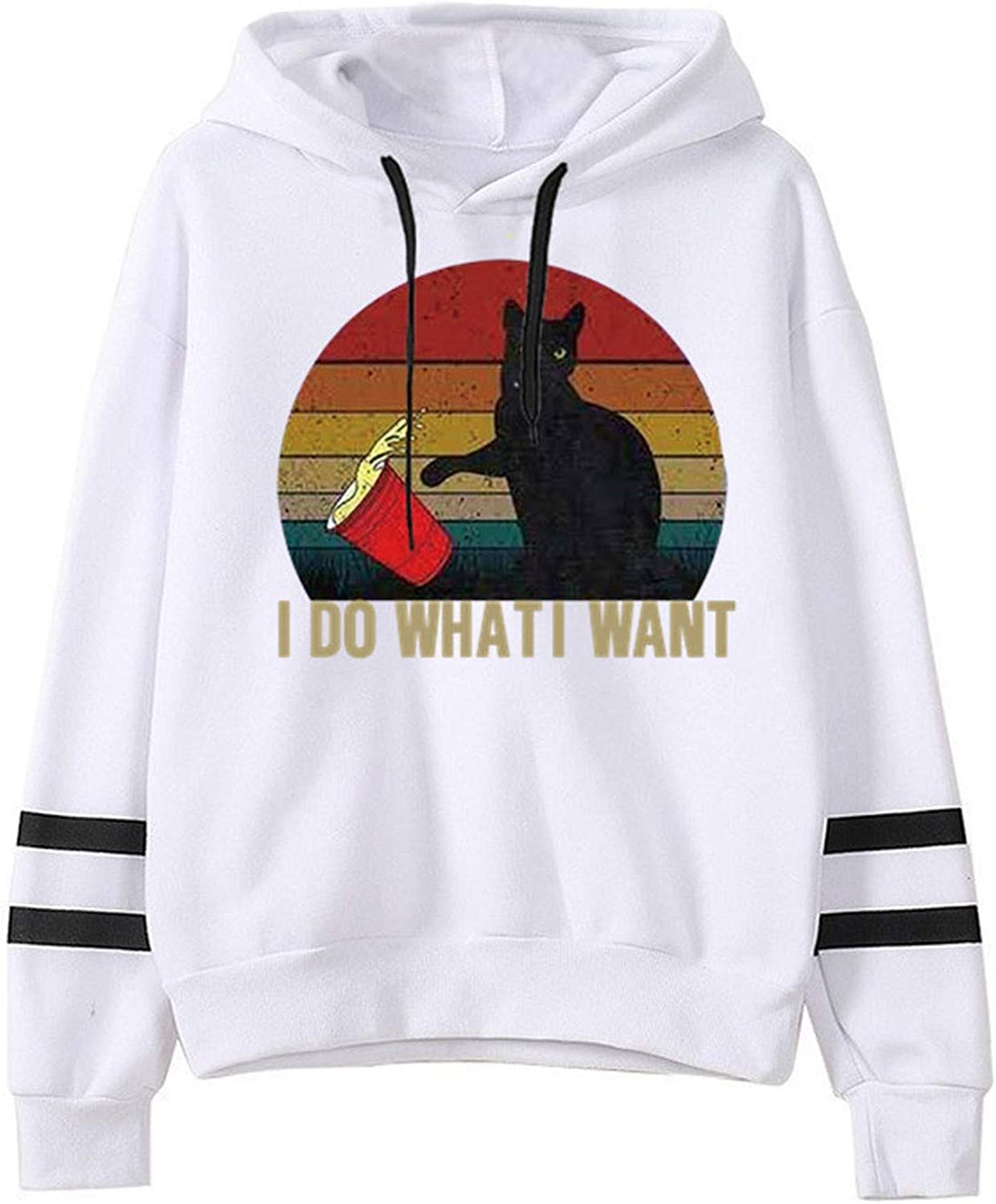 Womens I Do What I Want Hoodie Hoodie Teen Girls Cat Graphic Print Pullover Hooded Sweatshirt with Stripes on Arms