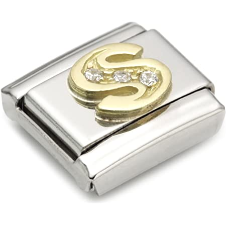 Nomination Composable Classic S Letter Stainless Steel, K Gold and Cubic Zirconium
