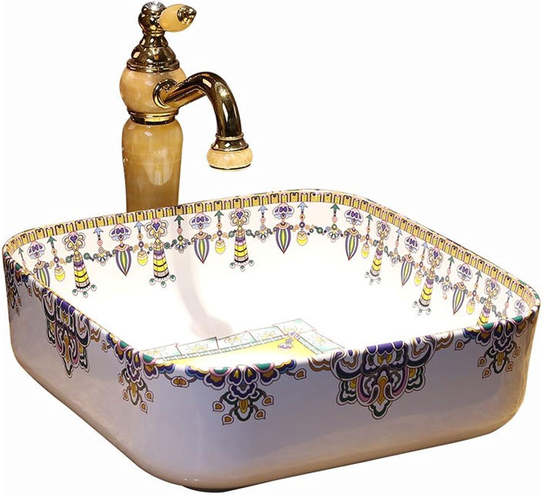 HAI Waschbecken Kunst Waschbecken Basin Square Fashion Basin Keramik Tischbecken (39,5x39,5x14cm) Einbauwaschbecken