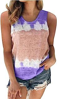 Women Sleeveless Tank Tops, Ladies Tie-Dye Printed Summer O-neck T-shirt Blouse Tunic Top