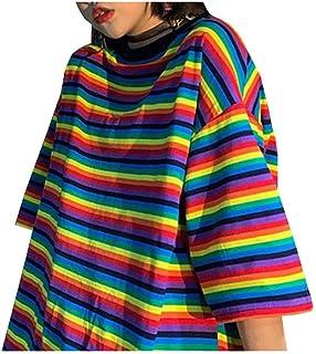 Wanxiaoyyyindx Work Blouses for Women, Summer Striped Women Tshirt Outsized Short Sleeve Distaff T-shirts Ladies Tee Tops ...