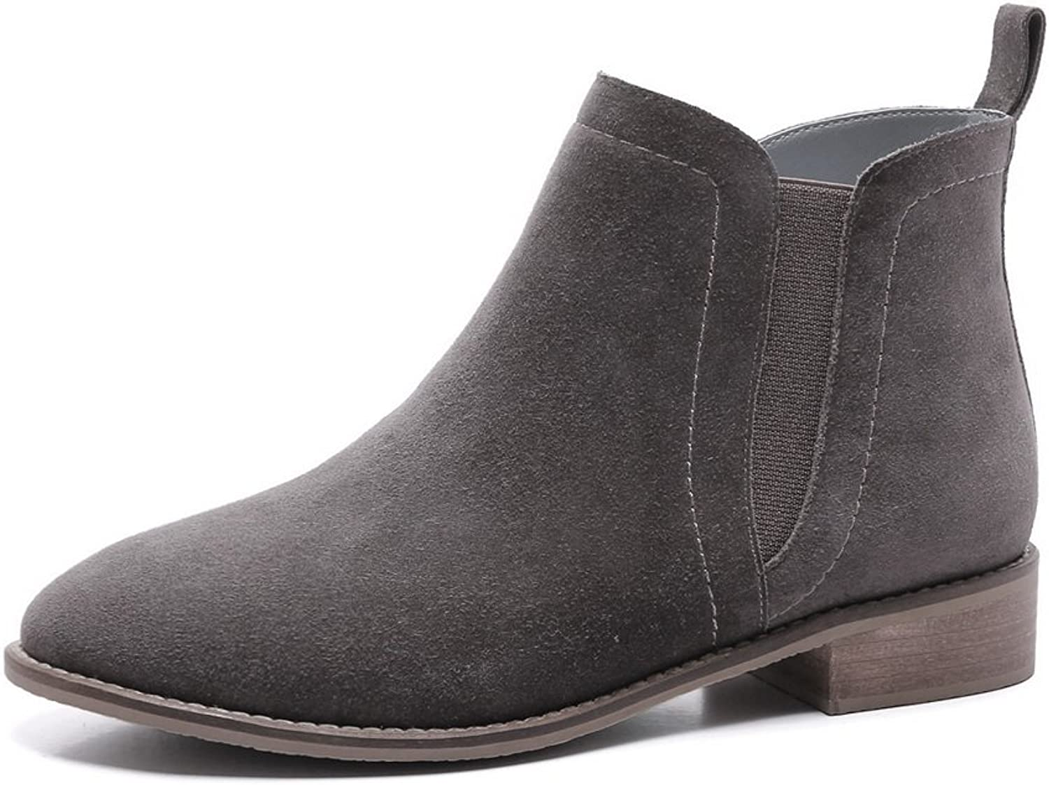 WeiPoot Women's Frosted Solid Closed Toe Boots with Thread and Non-Slipping Sole
