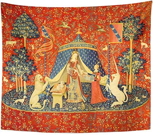 Yhjdcc Tapisserie Artwork Wandbehang Dame und das Einhorn Mittelalter Mittelalter Home Decor Tapisserien Matratze Tischdecke Vorhang Druck 150cm x 200 cm