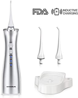 Hangsun Cordless Water Flosser Oral Irrigator Rechargeable Dental Flossers Electric Ultra Pick Teeth Cleaner for Braces with Inductive Charger IPX7 Waterproof