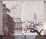 YAOLUU Cortinas de Paneles Cortinas asiáticas Temple Sakura Árboles y Montaña Formas Pagoda Sala de Estar Oriental Dormitorio Dormitorio Cortinas Drapeadas (Color : LEO04647, Size : W135 x H135cm x2)