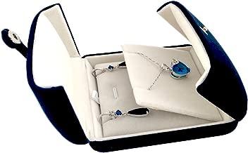 Svea Display Double Function Navy Blue Velvet Pendant Earrings Necklace Gift Box Double Layer Fine Material Modern Elegant (Pendant Necklace)
