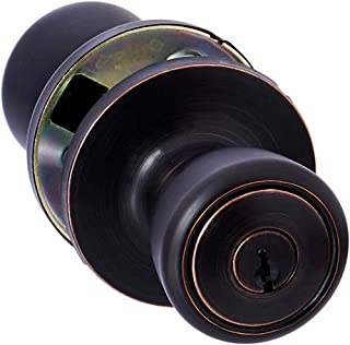 AmazonBasics Entry Door Knob With Lock, Bell, Oil Rubbed Bronze
