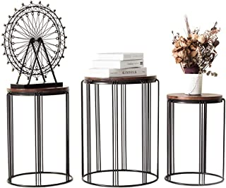 Y&M Round Metal Garden Stool,Side Table for Indoor Outdoor Use,Plant Stand,Set of 3 (Wood Color)