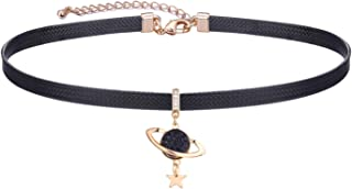 LVEN Black Choker Necklace for Women,Gold/Siver Tone Choker Necklace with Elegant Pendant