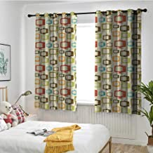 Vintage Waterproof Window Curtains Old Televisions Pattern in Retro Colors Antenna Electronics Entertainment Nostalgic Room Darkening, Noise Reducing W 63